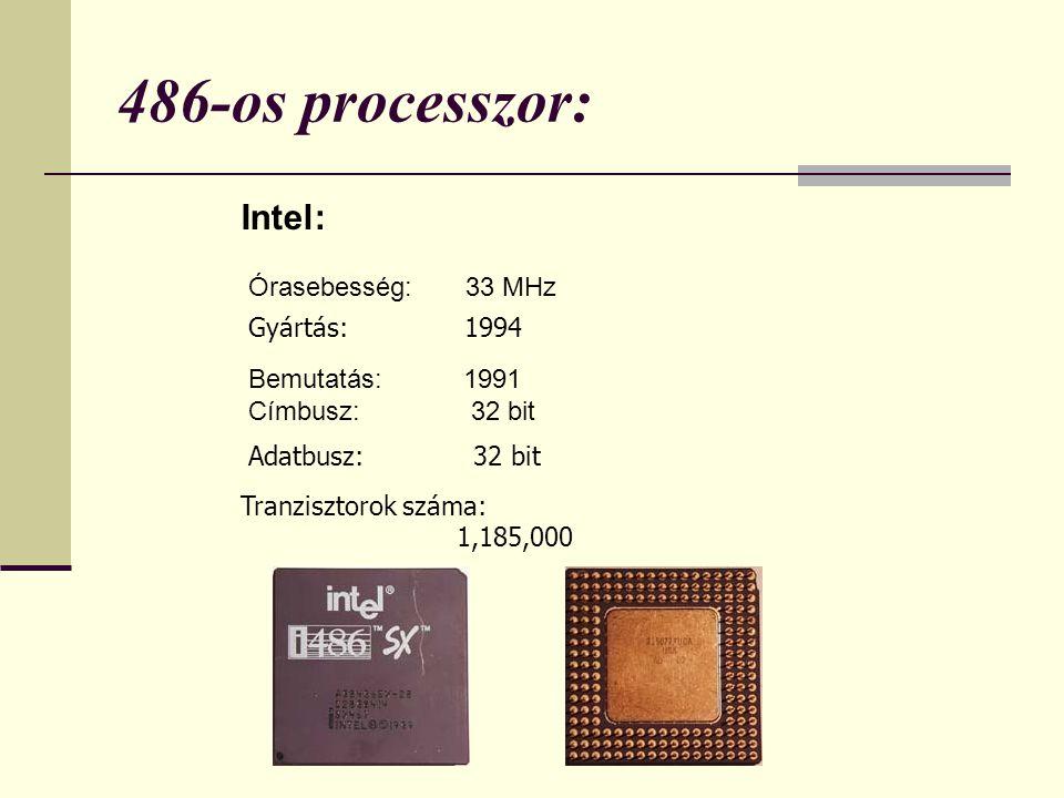 486-os processzor: Intel: Órasebesség: 33 MHz Gyártás: 1994 Bemutatás: 1991 Címbusz: 32 bit Adatbusz: 32 bit Tranzisztorok száma: 1,185,000