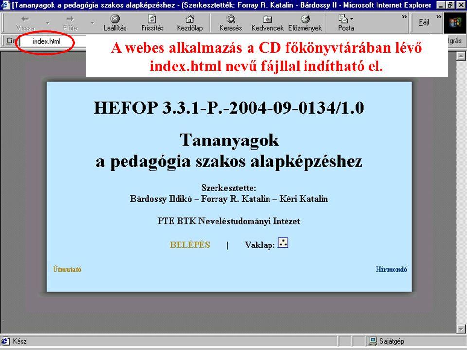 A webes alkalmazás a CD főkönyvtárában lévő index.html nevű fájllal indítható el.
