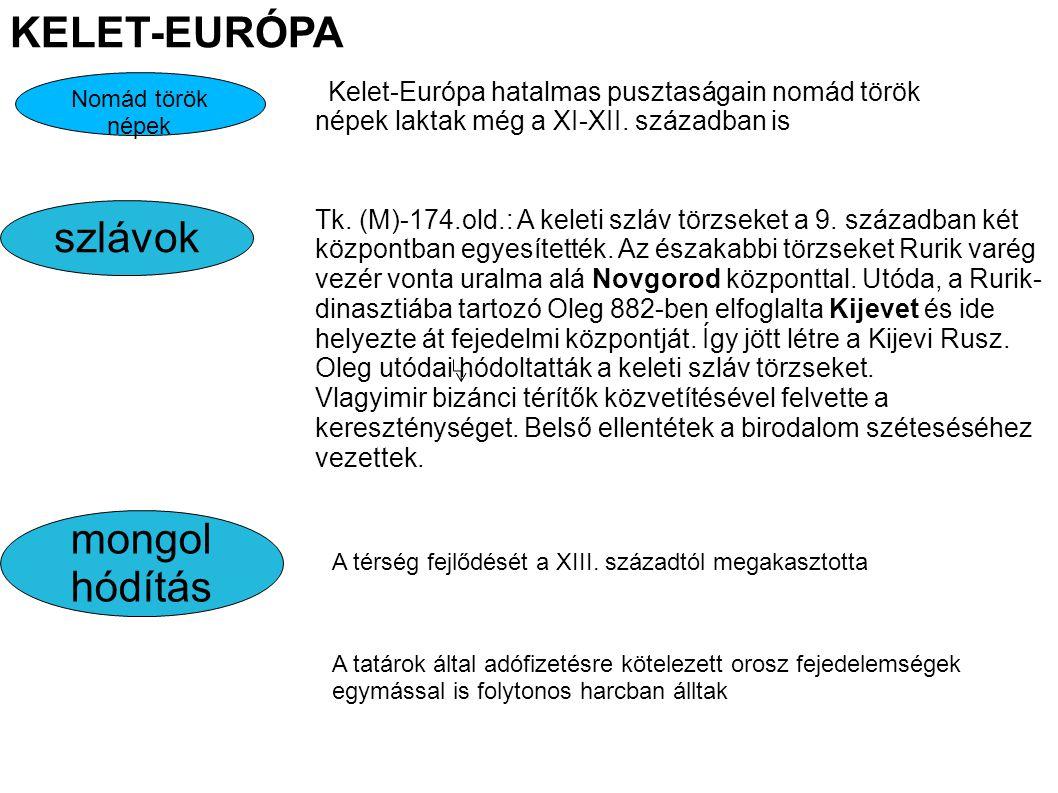szlávok KELET-EURÓPA Tk.(M)-174.old.: A keleti szláv törzseket a 9.