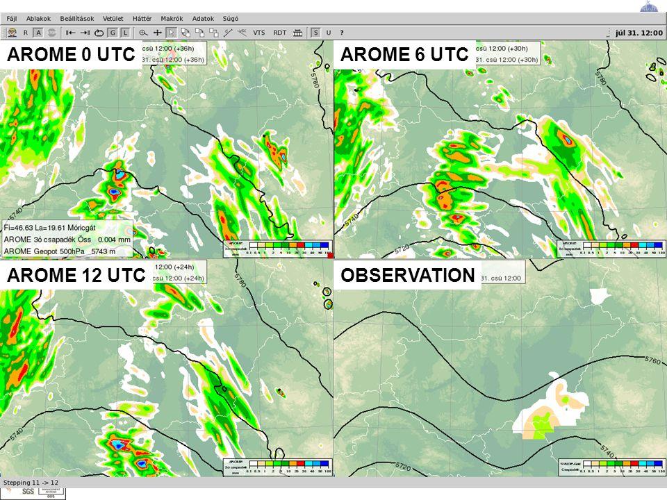 Alapítva: 1870 ORSZÁGOS METEOROLÓGIAI SZOLGÁLAT AROME 0 UTC OBSERVATIONAROME 12 UTC AROME 6 UTC