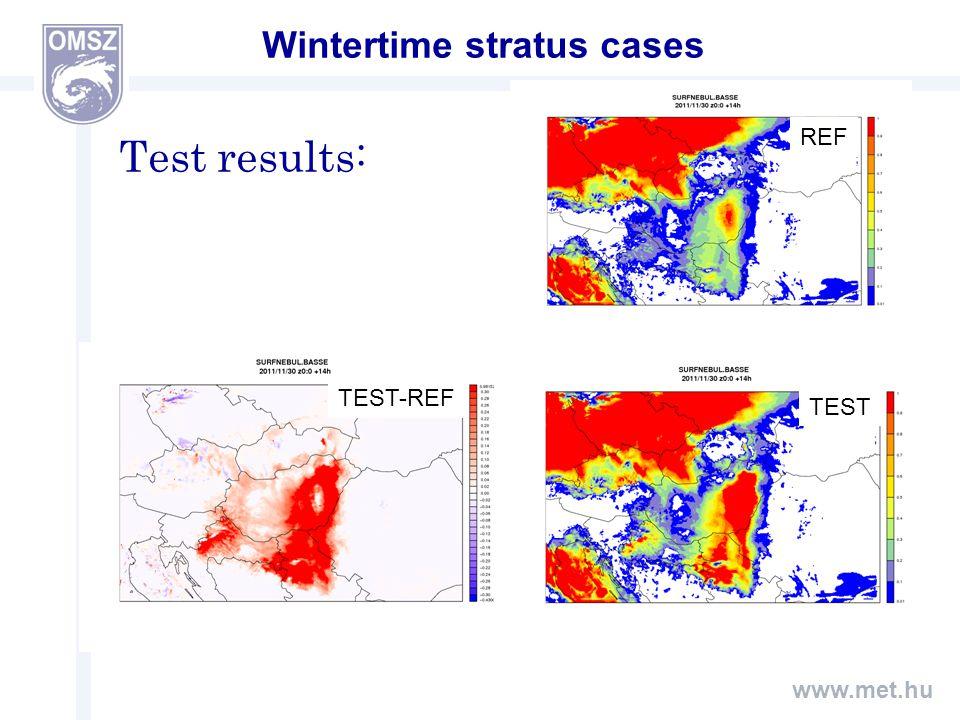 www.met.hu Wintertime stratus cases REF TEST TEST-REF Test results: