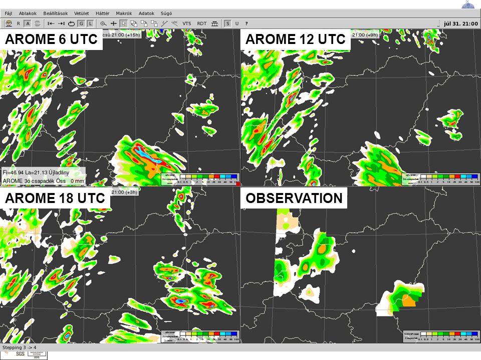 Alapítva: 1870 ORSZÁGOS METEOROLÓGIAI SZOLGÁLAT AROME 6 UTC OBSERVATIONAROME 18 UTC AROME 12 UTC