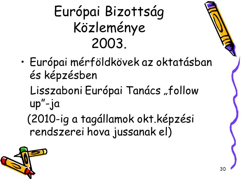 """30 Európai Bizottság Közleménye 2003. Európai mérföldkövek az oktatásban és képzésben Lisszaboni Európai Tanács """"follow up""""-ja (2010-ig a tagállamok o"""