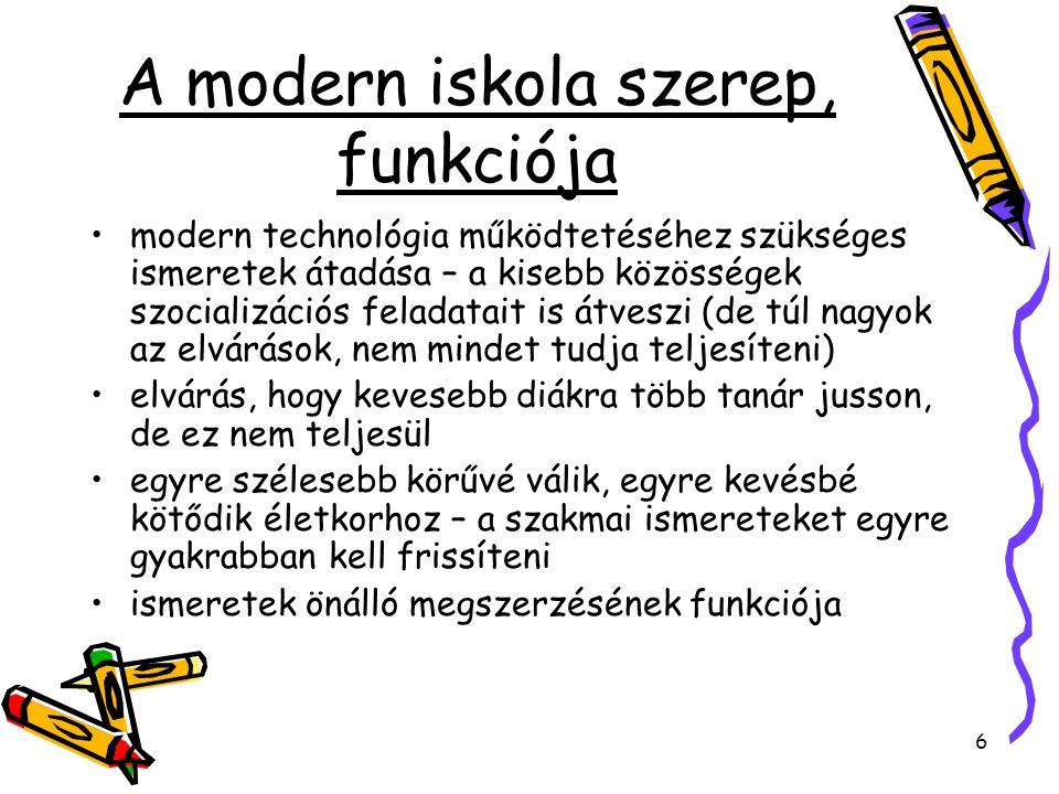 6 A modern iskola szerep, funkciója modern technológia működtetéséhez szükséges ismeretek átadása – a kisebb közösségek szocializációs feladatait is á