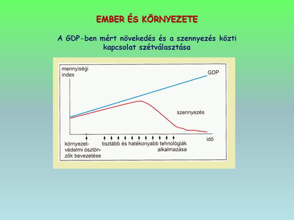 EMBER ÉS KÖRNYEZETE A GDP-ben mért növekedés és a szennyezés közti kapcsolat szétválasztása