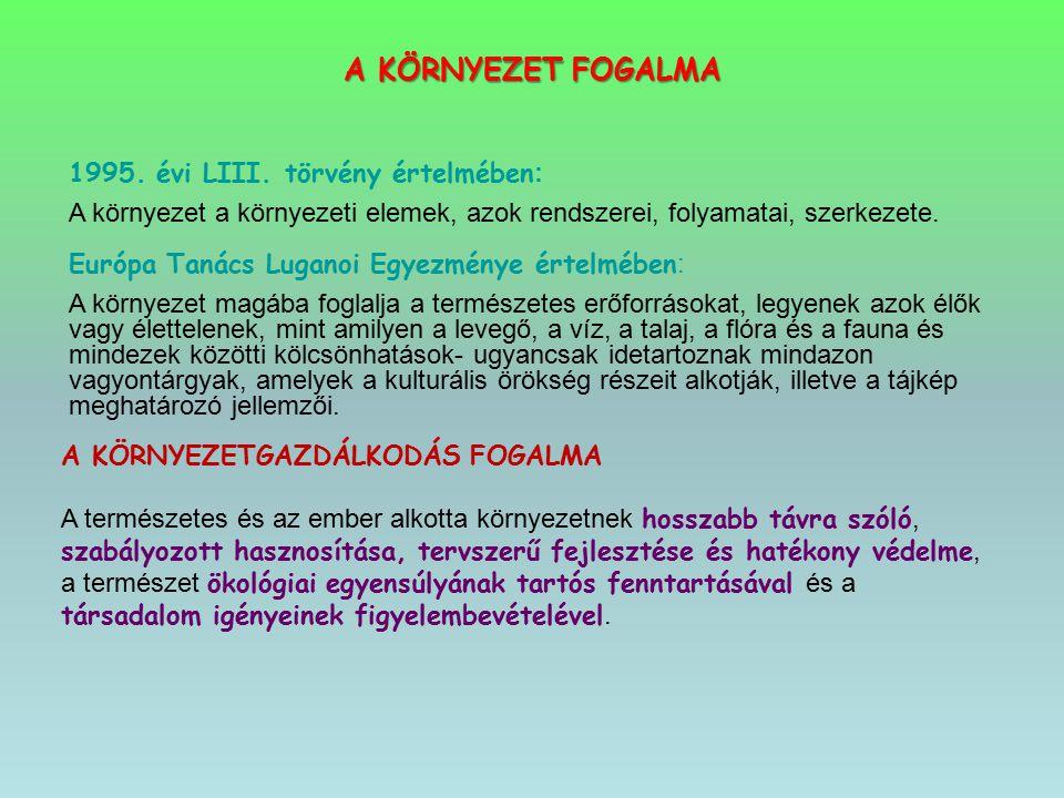 A KÖRNYEZET FOGALMA 1995. évi LIII. törvény értelmében : A környezet a környezeti elemek, azok rendszerei, folyamatai, szerkezete. Európa Tanács Lugan