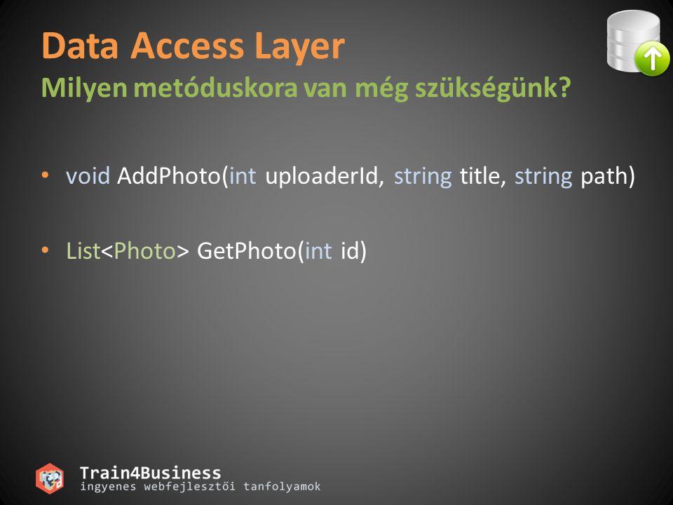 Data Access Layer Milyen metóduskora van még szükségünk.
