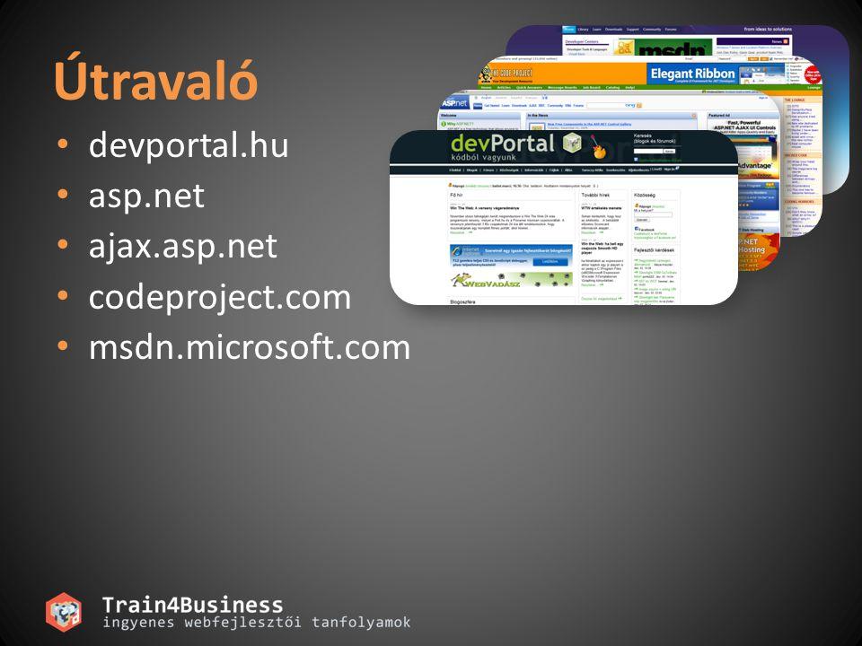 devportal.hu asp.net ajax.asp.net codeproject.com msdn.microsoft.com Útravaló