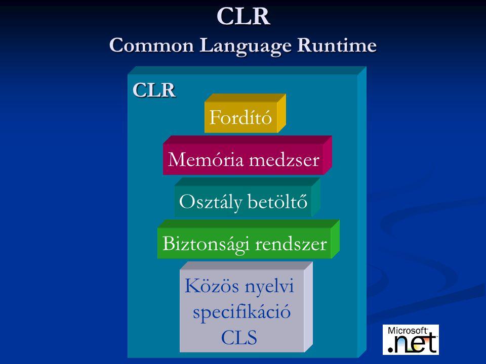 CLR Common Language Runtime CLR Fordító Memória medzser Biztonsági rendszer Közös nyelvi specifikáció CLS Osztály betöltő