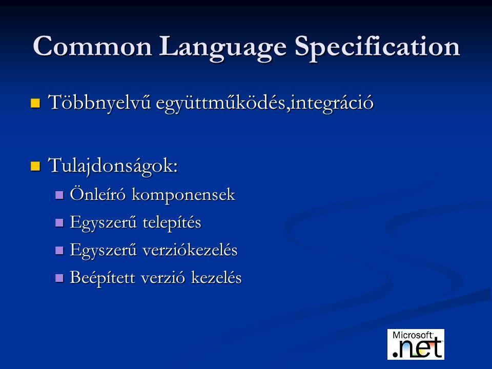 Common Language Specification Többnyelvű együttműködés,integráció Többnyelvű együttműködés,integráció Tulajdonságok: Tulajdonságok: Önleíró komponensek Önleíró komponensek Egyszerű telepítés Egyszerű telepítés Egyszerű verziókezelés Egyszerű verziókezelés Beépített verzió kezelés Beépített verzió kezelés