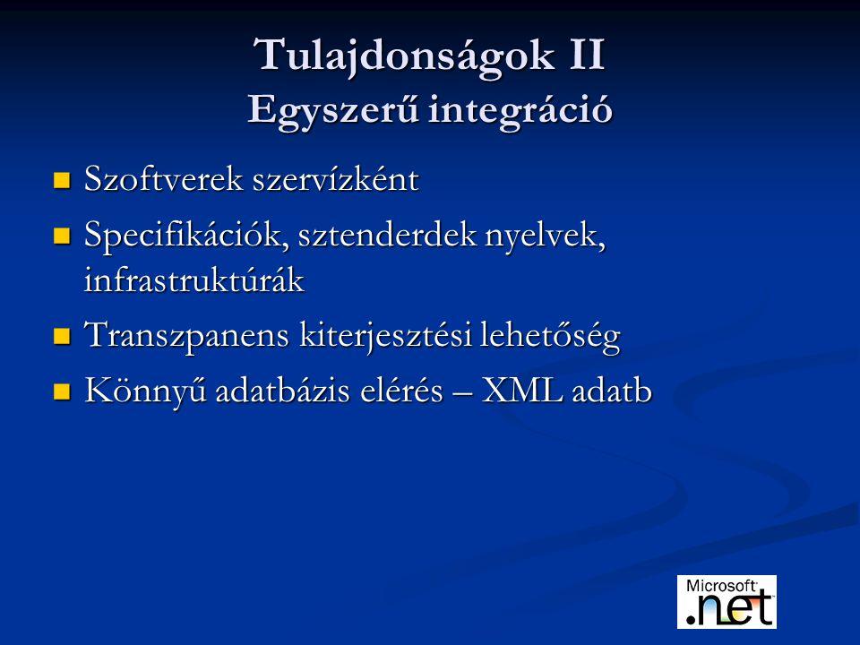 Tulajdonságok II Egyszerű integráció Szoftverek szervízként Szoftverek szervízként Specifikációk, sztenderdek nyelvek, infrastruktúrák Specifikációk, sztenderdek nyelvek, infrastruktúrák Transzpanens kiterjesztési lehetőség Transzpanens kiterjesztési lehetőség Könnyű adatbázis elérés – XML adatb Könnyű adatbázis elérés – XML adatb
