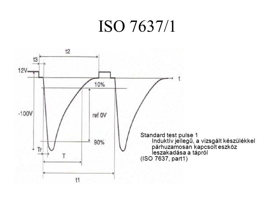 ISO 7637/1 Standard test pulse 1 Induktív jellegű, a vizsgált készülékkel párhuzamosan kapcsolt eszköz leszakadása a tápról (ISO 7637, part1)