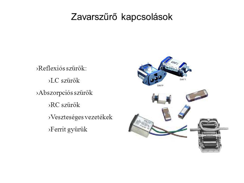 Zavarszűrő kapcsolások ›Reflexiós szűrők: ›LC szűrők ›Abszorpciós szűrők ›RC szűrők ›Veszteséges vezetékek ›Ferrit gyűrűk