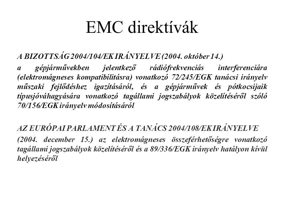 EMC direktívák A BIZOTTSÁG 2004/104/EK IRÁNYELVE (2004. október 14.) a gépjárművekben jelentkező rádiófrekvenciás interferenciára (elektromágneses kom