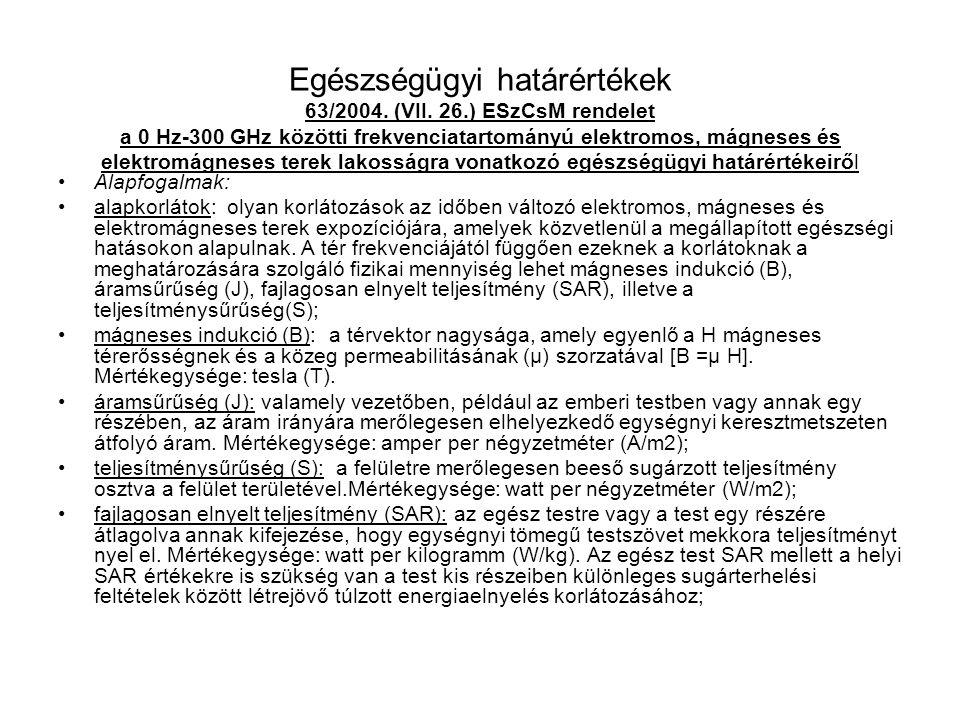 Egészségügyi határértékek 63/2004. (VII. 26.) ESzCsM rendelet a 0 Hz-300 GHz közötti frekvenciatartományú elektromos, mágneses és elektromágneses tere