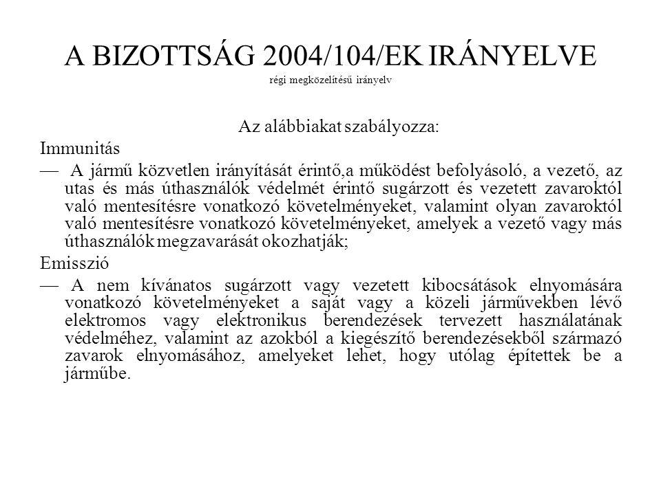 A BIZOTTSÁG 2004/104/EK IRÁNYELVE régi megközelítésű irányelv Az alábbiakat szabályozza: Immunitás — A jármű közvetlen irányítását érintő,a működést b