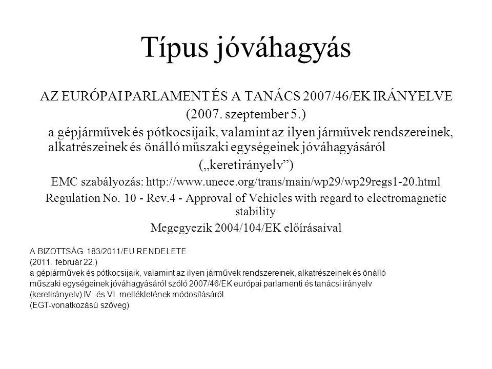 Típus jóváhagyás AZ EURÓPAI PARLAMENT ÉS A TANÁCS 2007/46/EK IRÁNYELVE (2007. szeptember 5.) a gépjárművek és pótkocsijaik, valamint az ilyen járművek