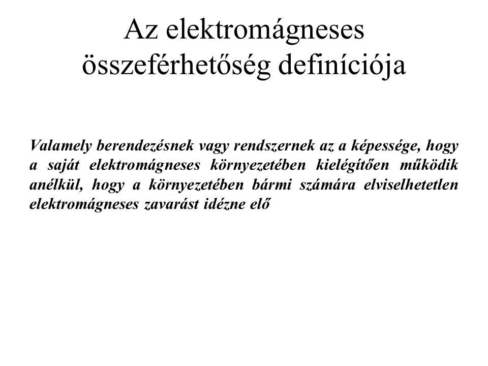 Az elektromágneses összeférhetőség definíciója Valamely berendezésnek vagy rendszernek az a képessége, hogy a saját elektromágneses környezetében kiel