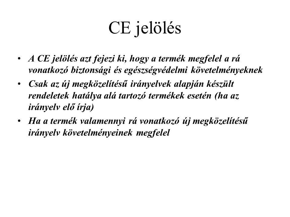 CE jelölés A CE jelölés azt fejezi ki, hogy a termék megfelel a rá vonatkozó biztonsági és egészségvédelmi követelményeknek Csak az új megközelítésű i