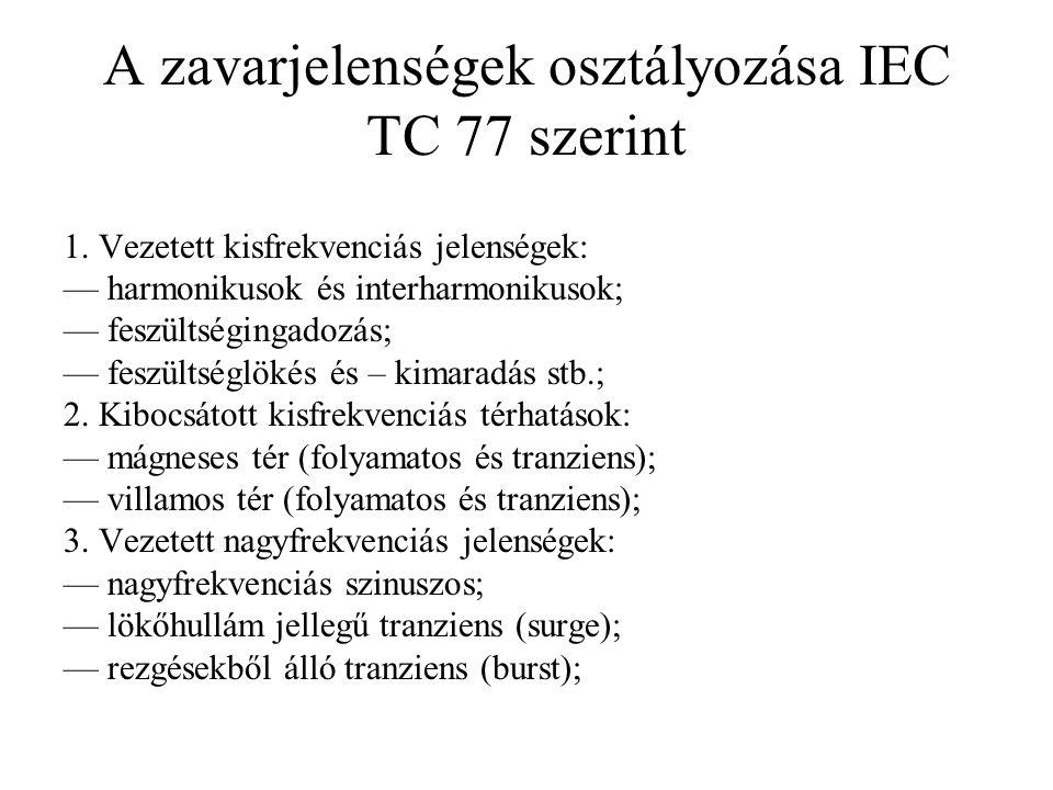 A zavarjelenségek osztályozása IEC TC 77 szerint 1. Vezetett kisfrekvenciás jelenségek: — harmonikusok és interharmonikusok; — feszültségingadozás; —