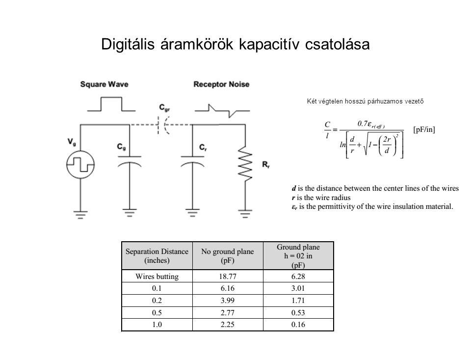 Digitális áramkörök kapacitív csatolása Két végtelen hosszú párhuzamos vezető
