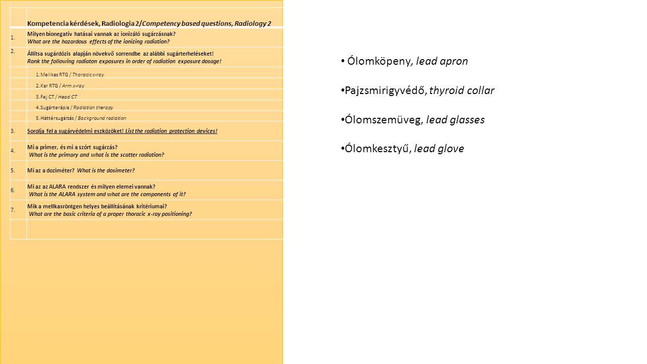 Kompetencia kérdések, Radiologia 2/Competency based questions, Radiology 2 1. Milyen bionegatív hatásai vannak az ionizáló sugárzásnak? What are the h