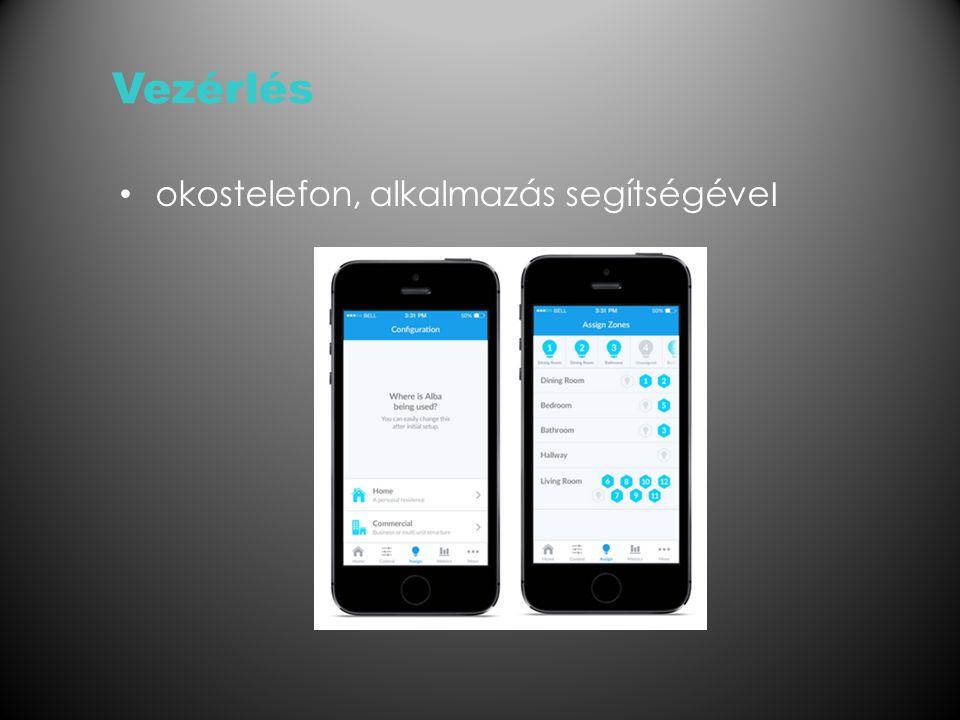 Vezérlés okostelefon, alkalmazás segítségéve l