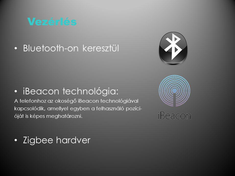 Vezérlés Bluetooth-on keresztül iBeacon technológia: A telefonhoz az okoségő iBeacon technológiával kapcsolódik, amellyel egyben a felhasználó pozíci- óját is képes meghatározni.