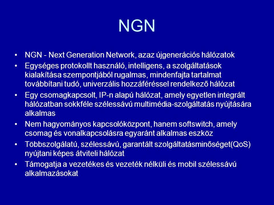NGN NGN - Next Generation Network, azaz újgenerációs hálózatok Egységes protokollt használó, intelligens, a szolgáltatások kialakítása szempontjából r