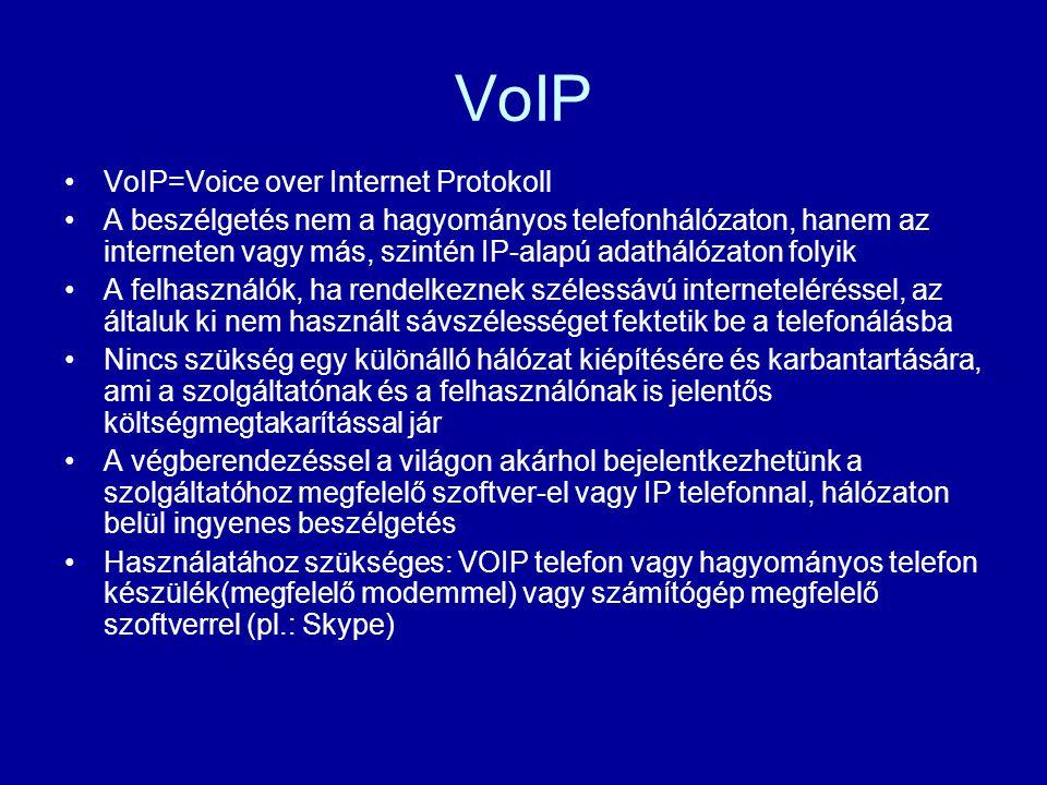 VoIP VoIP=Voice over Internet Protokoll A beszélgetés nem a hagyományos telefonhálózaton, hanem az interneten vagy más, szintén IP-alapú adathálózaton