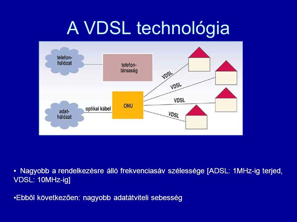 A VDSL technológia Nagyobb a rendelkezésre álló frekvenciasáv szélessége [ADSL: 1MHz-ig terjed, VDSL: 10MHz-ig] Ebből következően: nagyobb adatátvitel