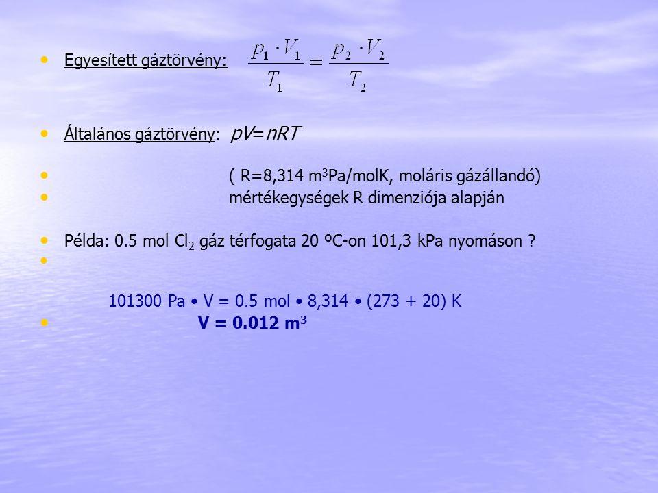 Egyesített gáztörvény: Általános gáztörvény: pV=nRT ( R=8,314 m 3 Pa/molK, moláris gázállandó) mértékegységek R dimenziója alapján Példa: 0.5 mol Cl 2