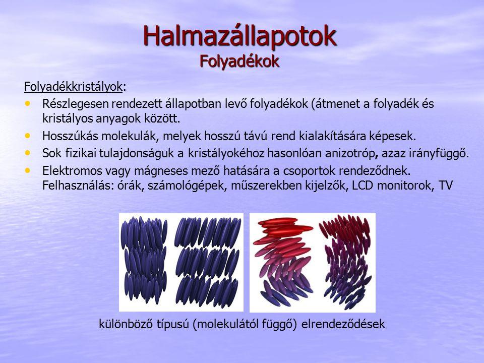 Folyadékkristályok: Részlegesen rendezett állapotban levő folyadékok (átmenet a folyadék és kristályos anyagok között. Hosszúkás molekulák, melyek hos