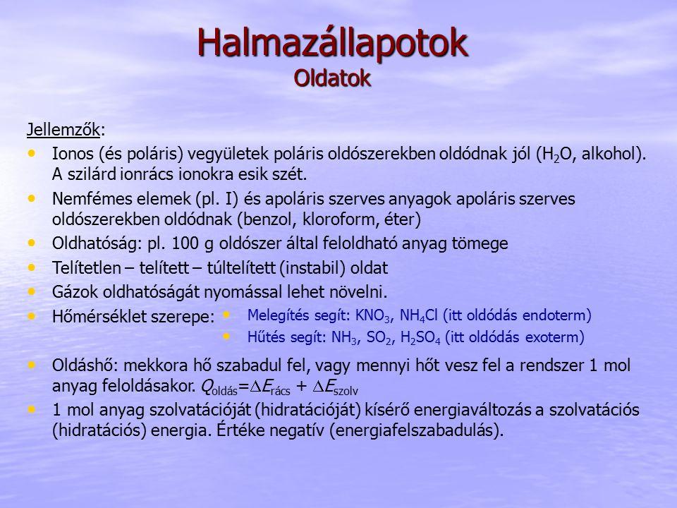 Halmazállapotok Oldatok: koncentrációszámítás Fontosabb koncentrációk: moláris koncentráció (c): mol oldott anyag/1 dm 3 oldatban (mol/dm 3 ) tömegszázalék: gramm oldott anyag/100 gramm oldatban (m/m%) tömegkoncentráció: kg oldott anyag/1 m 3 oldatban (kg/m 3 ) Számítási példa: Számítsuk ki annak az oldatnak a moláris koncentrációját, melyet 100 g NaCl 0.4 dm 3 vízben történt feloldásával kaptunk.