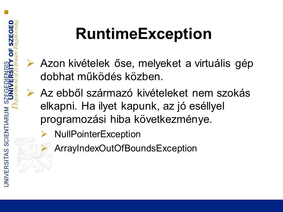 UNIVERSITY OF SZEGED D epartment of Software Engineering UNIVERSITAS SCIENTIARUM SZEGEDIENSIS RuntimeException  Azon kivételek őse, melyeket a virtuális gép dobhat működés közben.