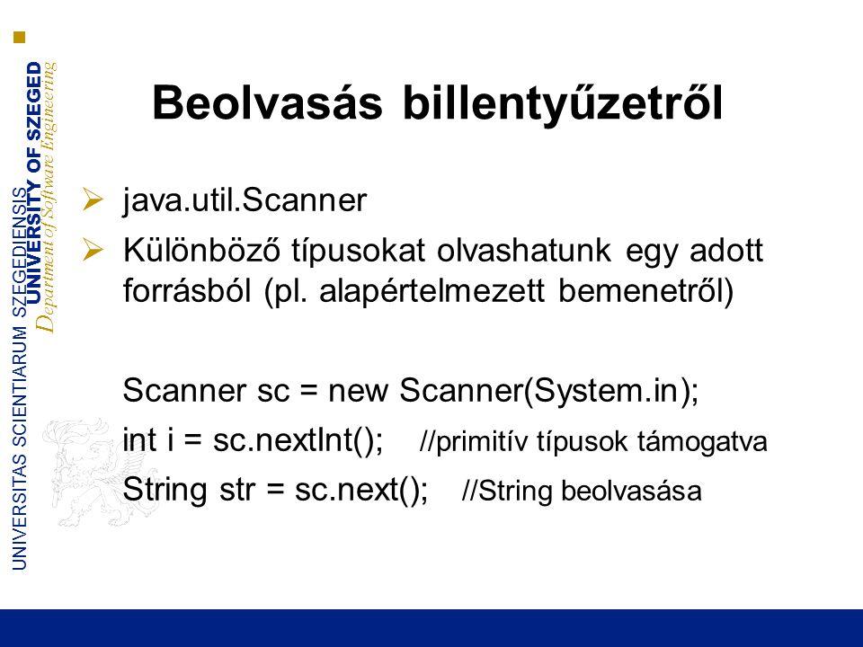 UNIVERSITY OF SZEGED D epartment of Software Engineering UNIVERSITAS SCIENTIARUM SZEGEDIENSIS Beolvasás billentyűzetről  java.util.Scanner  Különböző típusokat olvashatunk egy adott forrásból (pl.