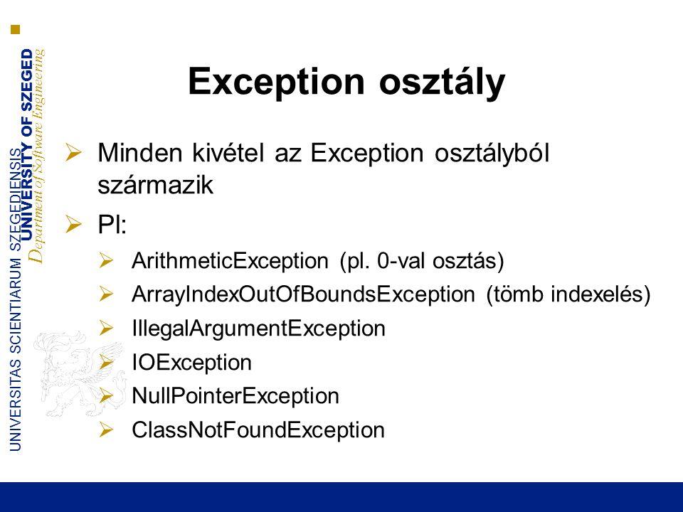 UNIVERSITY OF SZEGED D epartment of Software Engineering UNIVERSITAS SCIENTIARUM SZEGEDIENSIS Exception osztály  Minden kivétel az Exception osztályból származik  Pl:  ArithmeticException (pl.