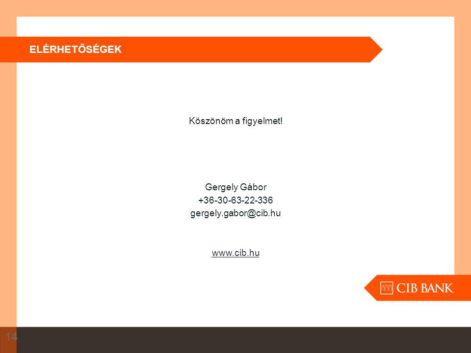 Köszönöm a figyelmet! Gergely Gábor +36-30-63-22-336 gergely.gabor@cib.hu www.cib.hu ELÉRHETŐSÉGEK 14