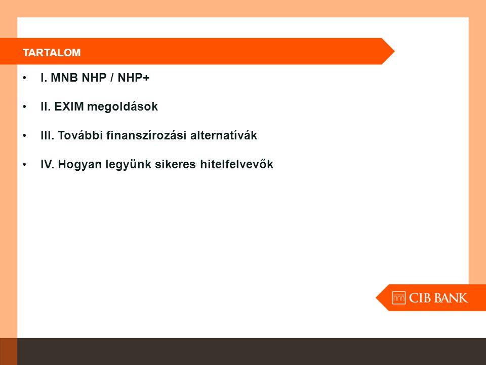 TARTALOM I. MNB NHP / NHP+ II. EXIM megoldások III. További finanszírozási alternatívák IV. Hogyan legyünk sikeres hitelfelvevők