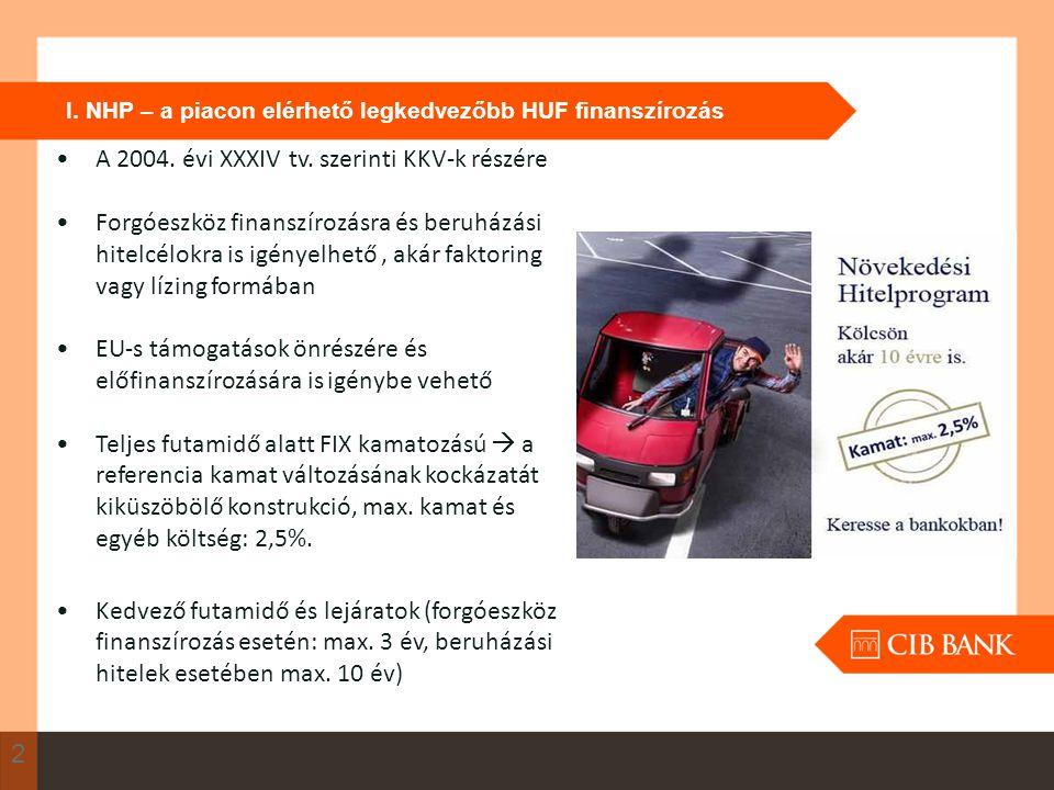 I. NHP – a piacon elérhető legkedvezőbb HUF finanszírozás 2 A 2004. évi XXXIV tv. szerinti KKV-k részére Forgóeszköz finanszírozásra és beruházási hit