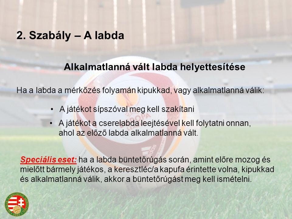 Alkalmatlanná vált labda helyettesítése Ha a labda a mérkőzés folyamán kipukkad, vagy alkalmatlanná válik: A játékot sípszóval meg kell szakítani A játékot a cserelabda leejtésével kell folytatni onnan, ahol az előző labda alkalmatlanná vált.