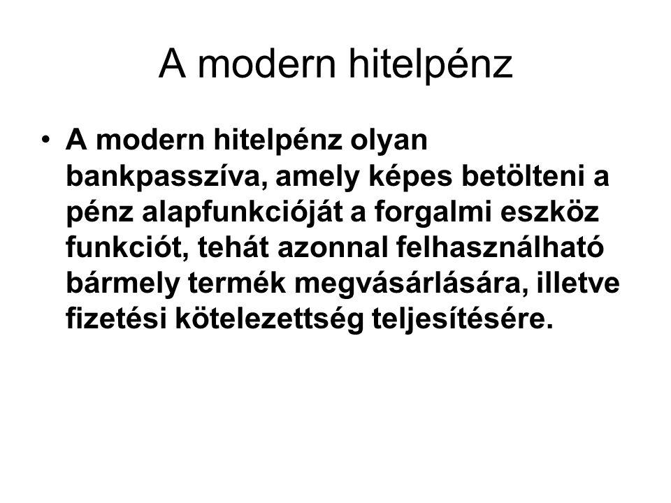A modern hitelpénz A modern hitelpénz olyan bankpasszíva, amely képes betölteni a pénz alapfunkcióját a forgalmi eszköz funkciót, tehát azonnal felhas