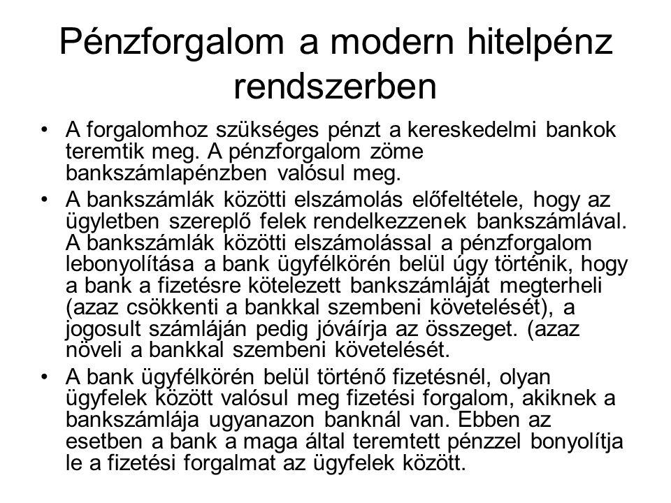 Pénzforgalom a modern hitelpénz rendszerben A forgalomhoz szükséges pénzt a kereskedelmi bankok teremtik meg. A pénzforgalom zöme bankszámlapénzben va