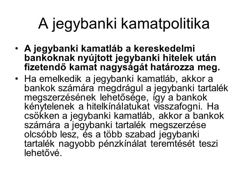 A jegybanki kamatpolitika A jegybanki kamatláb a kereskedelmi bankoknak nyújtott jegybanki hitelek után fizetendő kamat nagyságát határozza meg. Ha em