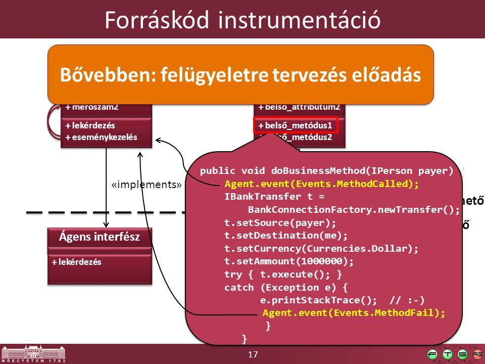 17 Forráskód instrumentáció Belső osztály + belső_attribútum1 + belső_attribútum2 + belső_attribútum1 + belső_attribútum2 + belső_metódus1 + belső_metódus2 + belső_metódus1 + belső_metódus2 Külső interfész + alkalmazás_metódus « implements » Kivülről nem elérhető Kivülről elérhető Ágens osztály + mérőszám1 + mérőszám2 + mérőszám1 + mérőszám2 + lekérdezés + eseménykezelés + lekérdezés + eseménykezelés Ágens interfész + lekérdezés « implements » public void doBusinessMethod(IPerson payer) { IBankTransfer t = BankConnectionFactory.newTransfer(); t.setSource(payer); t.setDestination(me); t.setCurrency(Currencies.Dollar); t.setAmmount(1000000); try { t.execute(); } catch (Exception e) { e.printStackTrace(); // :-) } public void doBusinessMethod(IPerson payer) { IBankTransfer t = BankConnectionFactory.newTransfer(); t.setSource(payer); t.setDestination(me); t.setCurrency(Currencies.Dollar); t.setAmmount(1000000); try { t.execute(); } catch (Exception e) { e.printStackTrace(); // :-) } Agent.event(Events.MethodCalled); Agent.event(Events.MethodFail); Bővebben: felügyeletre tervezés előadás