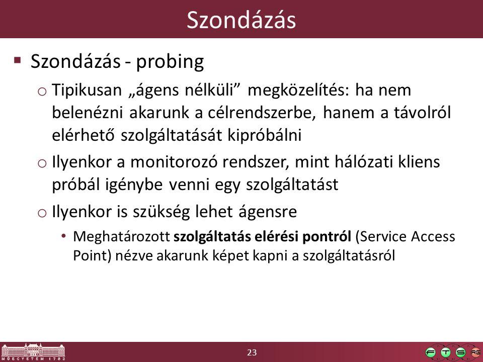 """23 Szondázás  Szondázás - probing o Tipikusan """"ágens nélküli megközelítés: ha nem belenézni akarunk a célrendszerbe, hanem a távolról elérhető szolgáltatását kipróbálni o Ilyenkor a monitorozó rendszer, mint hálózati kliens próbál igénybe venni egy szolgáltatást o Ilyenkor is szükség lehet ágensre Meghatározott szolgáltatás elérési pontról (Service Access Point) nézve akarunk képet kapni a szolgáltatásról"""