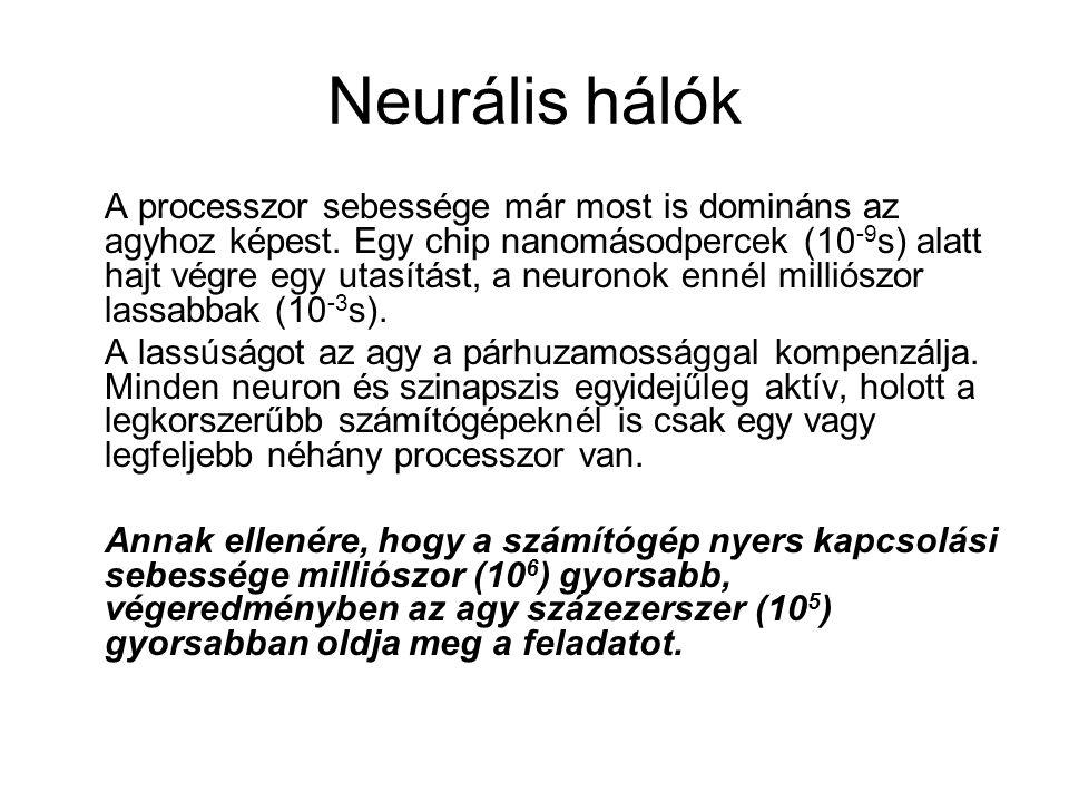 Neurális hálók A processzor sebessége már most is domináns az agyhoz képest. Egy chip nanomásodpercek (10 -9 s) alatt hajt végre egy utasítást, a neur
