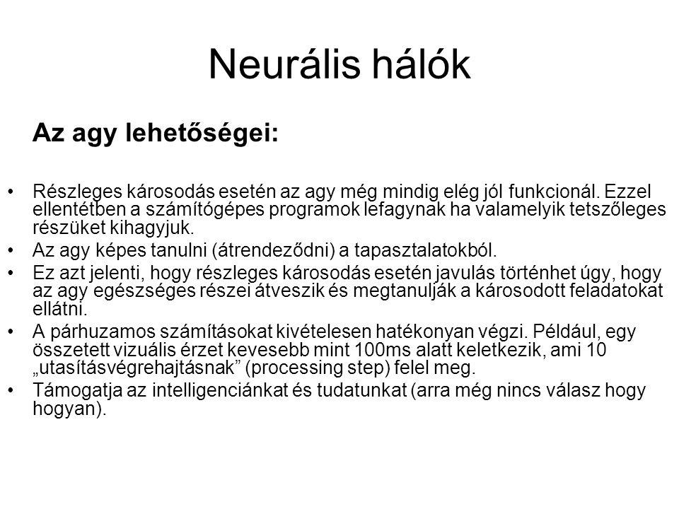 Neurális hálók Az agy lehetőségei: Részleges károsodás esetén az agy még mindig elég jól funkcionál. Ezzel ellentétben a számítógépes programok lefagy
