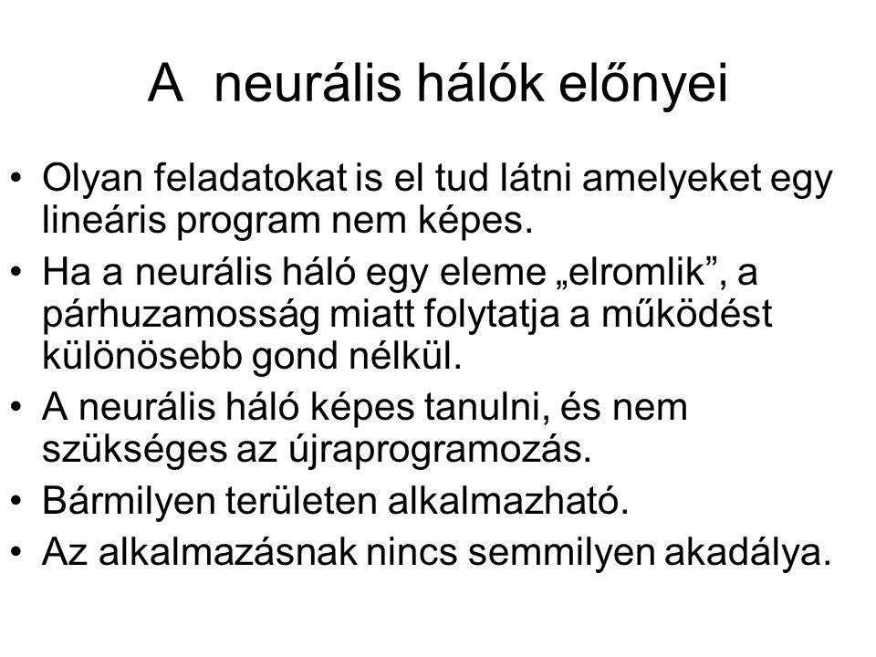 """A neurális hálók előnyei Olyan feladatokat is el tud látni amelyeket egy lineáris program nem képes. Ha a neurális háló egy eleme """"elromlik"""", a párhuz"""