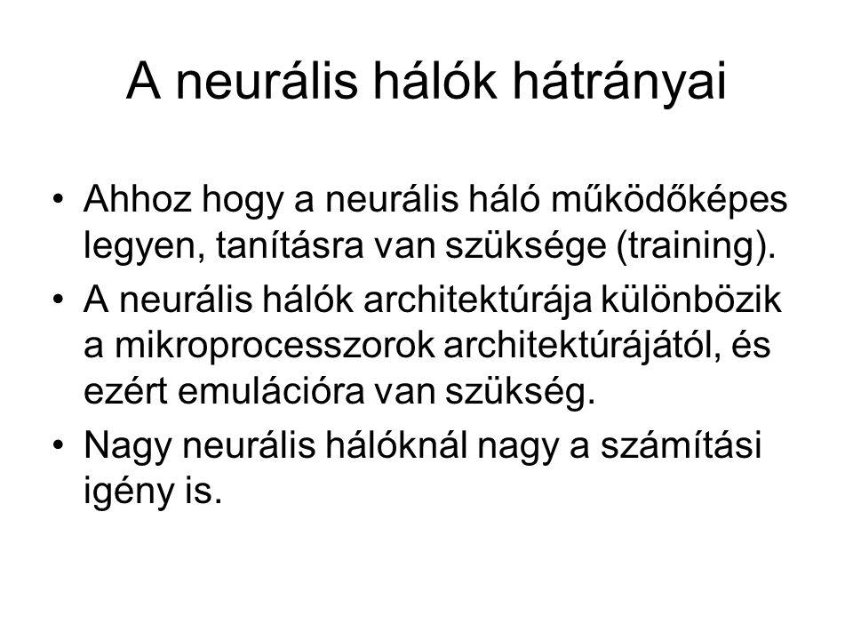 A neurális hálók hátrányai Ahhoz hogy a neurális háló működőképes legyen, tanításra van szüksége (training). A neurális hálók architektúrája különbözi